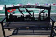 Swift-Cut CNC plasma cutting table - seating bench cut-out of fighter planes flying over London for the Derby War Memorial