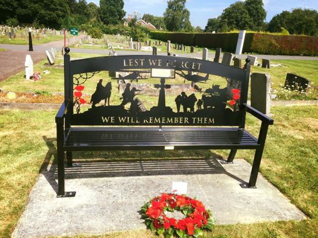 Swift-Cut plasma machine bench cut-out of soldiers and fighter planes at a grave yard for the Derby War Memorial